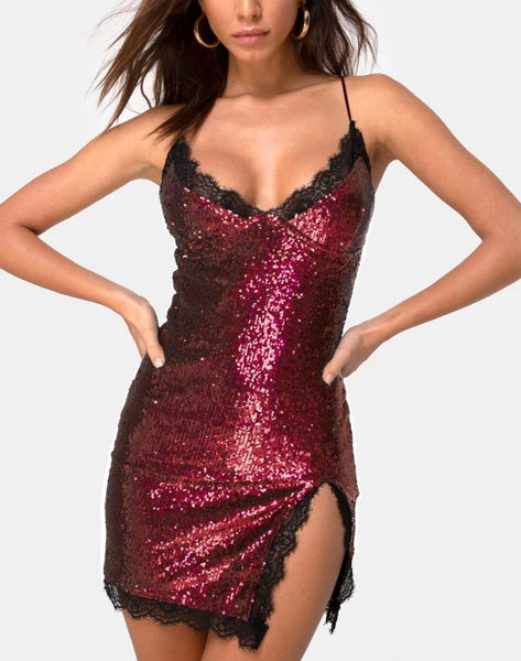 Romini Dress in Burgundy Mini Sequin with Black Lace by Motel