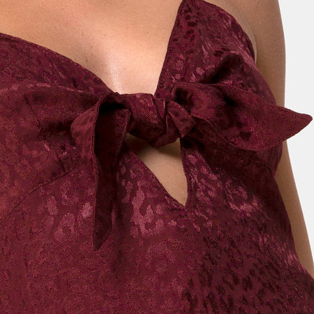 Ronina Dress in Satin Cheetah Burgundy by Motel
