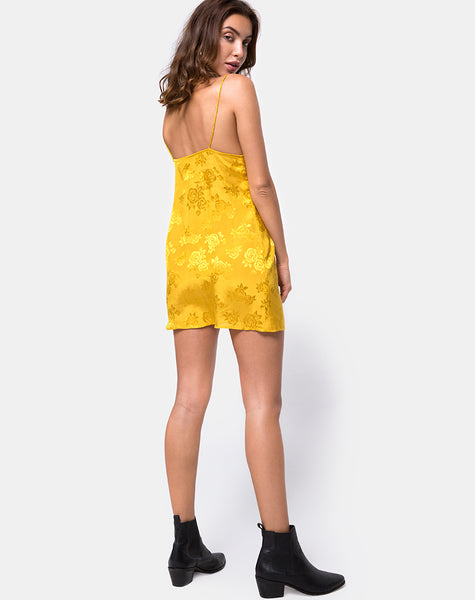 63da6e4bdc73 Roppan Slip Dress in Satin Mustard Rose by Motel – motelrocks.com