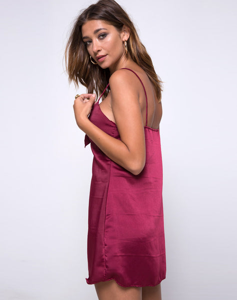 Roppan Slip Dress In Burgundy by Motel
