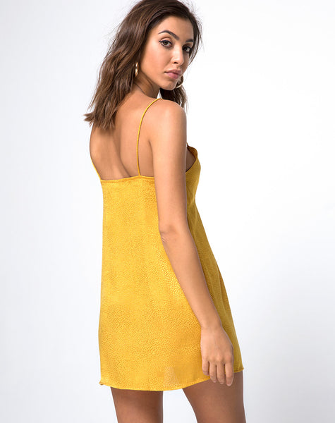 Roppan Slip Dress in Satin Mustard by Motel