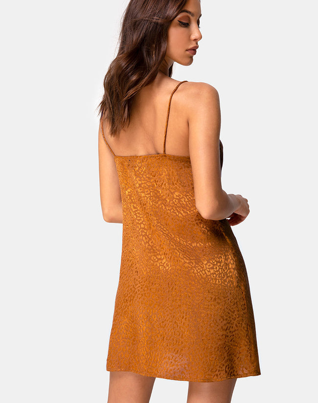 Ronina Dress in Gold Satin Cheetah by Motel