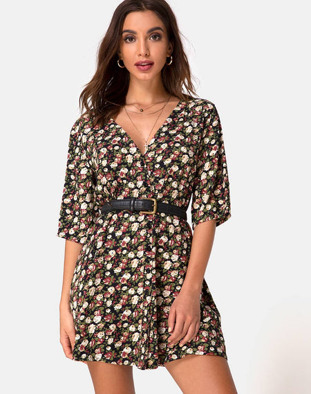 Ruzenta Mini Dress in Roaming Rose Black by Motel