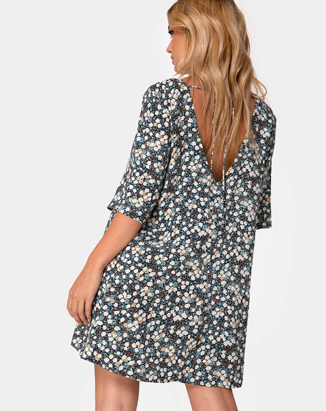 Rosella Swing Dress in Floral Field Navy