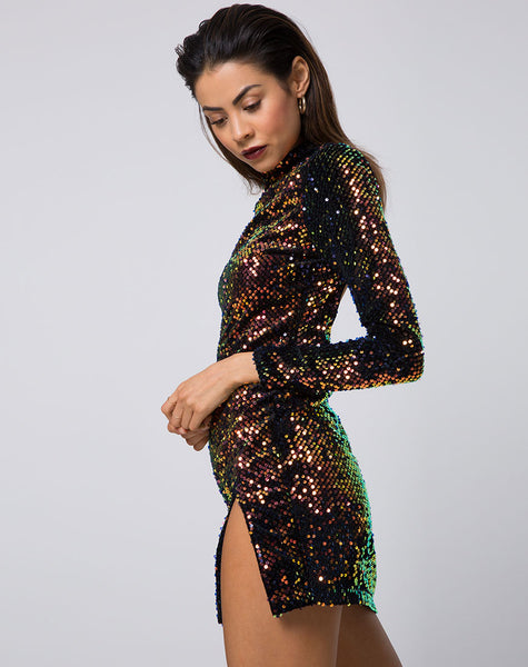 Rosella Dress in Prism Shine Sequin by Motel