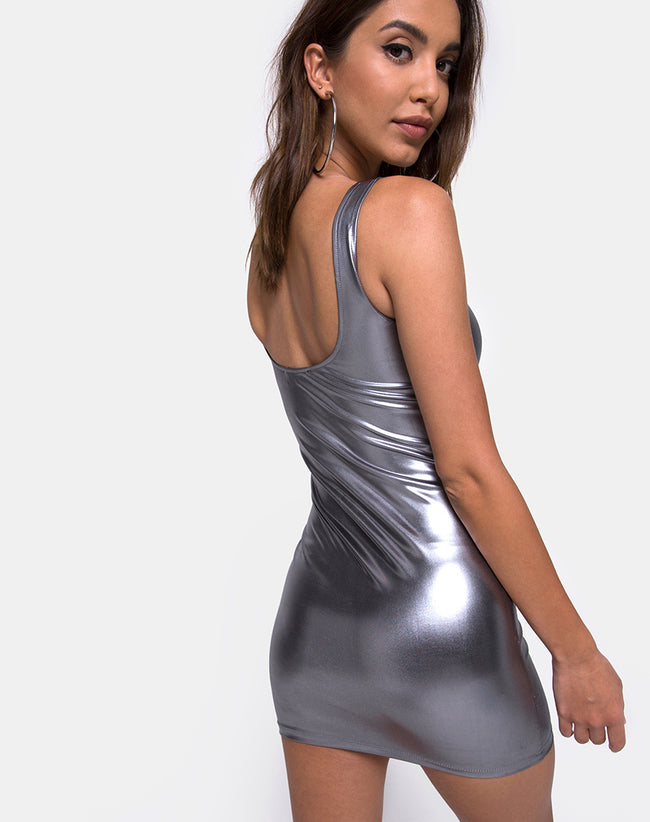 Rosie Dress in Metallic Silver by Motel