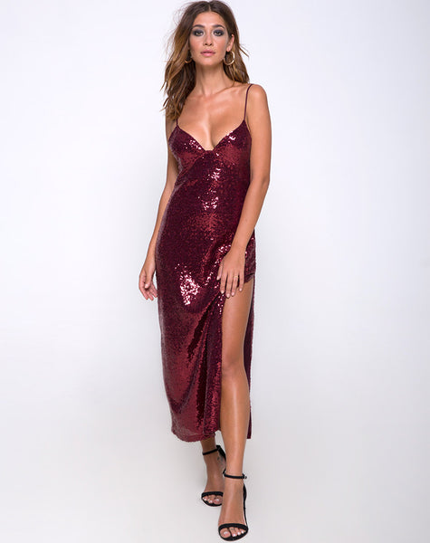 Roxanne Maxi Dress in Mini Sequin Burgundy by Motel