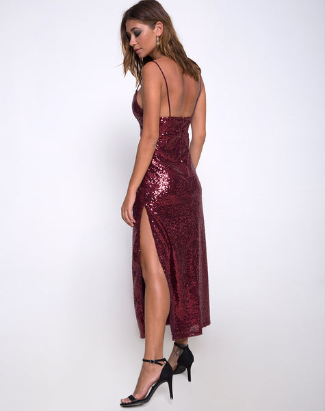 07fb49200b4e Roxanne Maxi Dress in Mini Sequin Burgundy by Motel – motelrocks.com