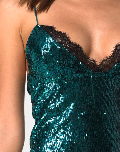 Roxini Dress in Mini Sequin Teal with Black Lace by Motel