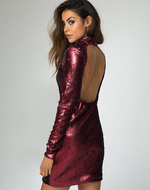 Ruby Rose Bodycon Dress in Fishcale Matte Sequin Wine by Motel