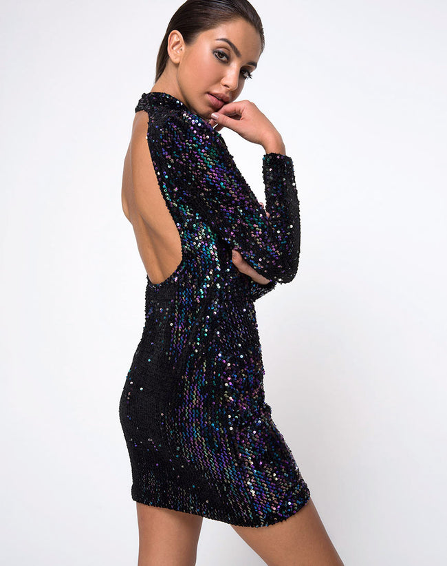 Ruby Rose Bodycon Dress in Petrol Sequin by Motel