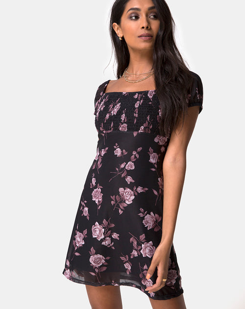 Ruchine Tea Dress in Dusky Rose by Motel