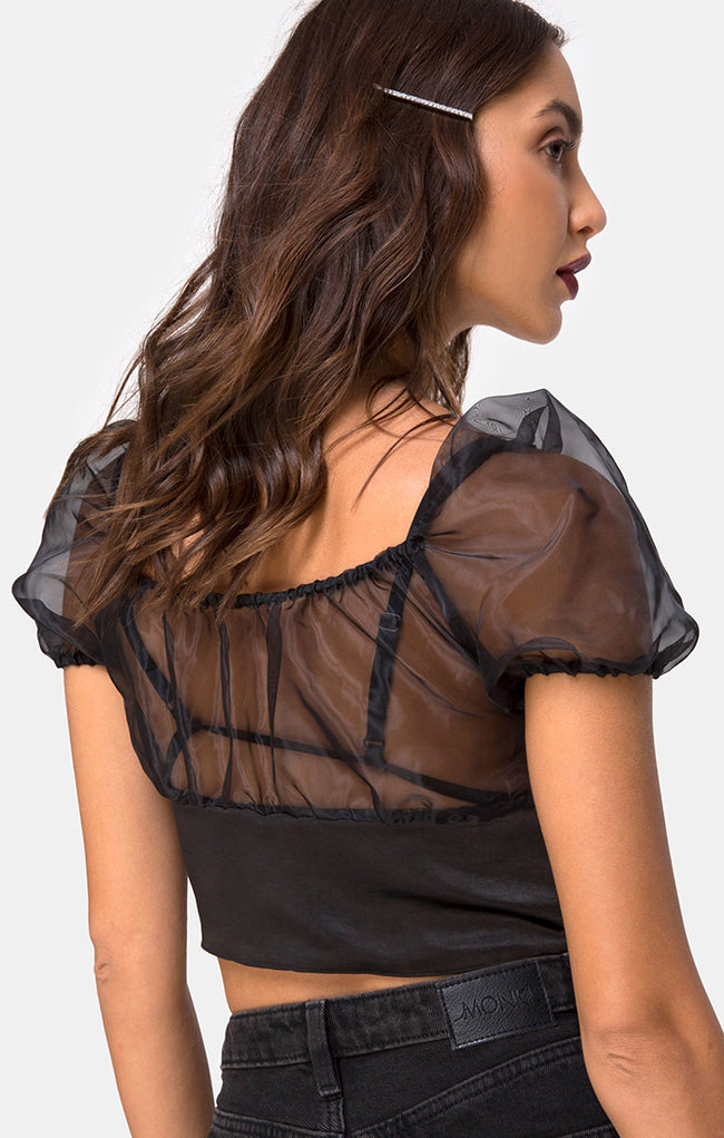 Ruina Top in Satin Black by Motel