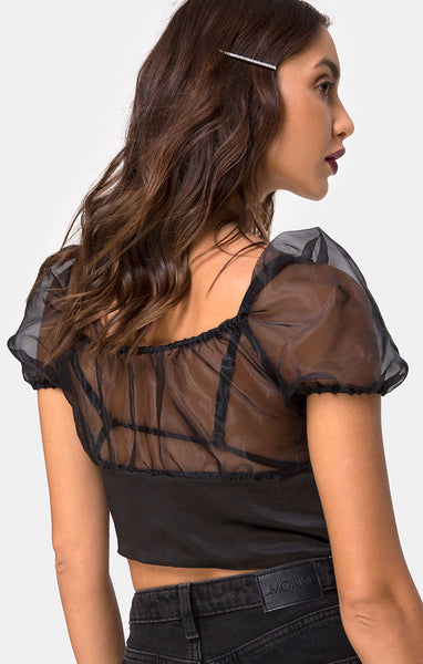 Ruina Top in Satin Black