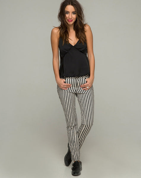 Ruska Jeans in Mini Pinstripe Black and White by Motel