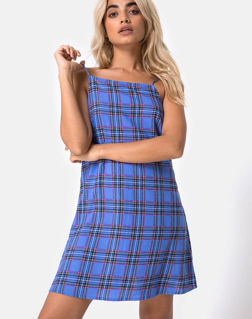 Sagha Slip dress in 90's Check Blue Pink by Motel