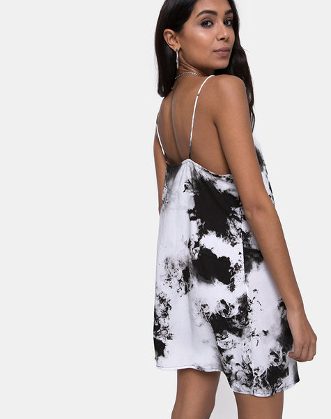 Sagha Slip Dress in Mono Tie Dye Black and White