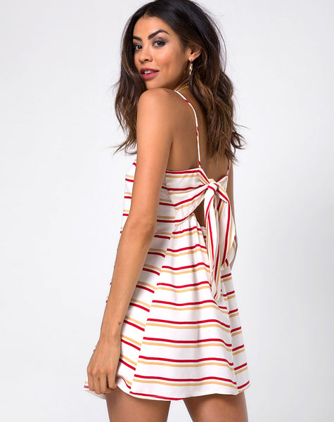 Sagra Slip Dress in 70's Ivory Horizontal Stripe