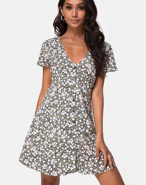 Sahara Tea Dress in Floral Field Olive by Motel