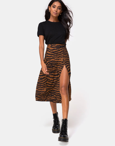 Saika Midi Skirt in Animal Drip Brown by Motel