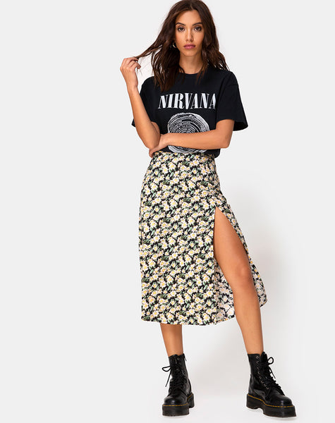 Saika Midi Skirt in Aster Black by Motel