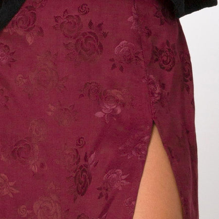 Saika Midi Skirt in Satin Rose Burgundy