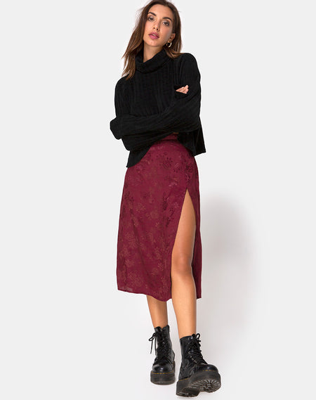 Kaisa Midi Skirt in Plaid Red and Black by Motel