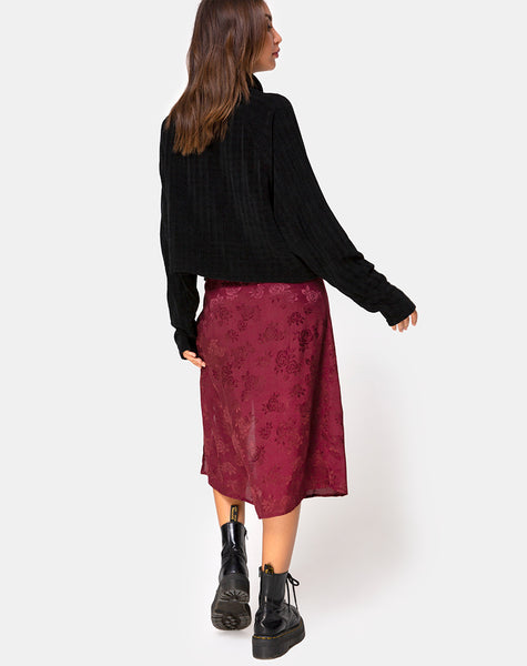 Saika Midi Skirt in Satin Rose Burgundy by Motel