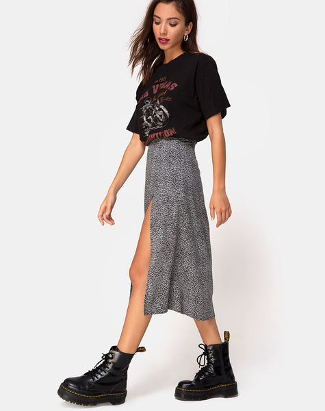Saika Midi Skirt in Ditsy Leopard Grey by Motel