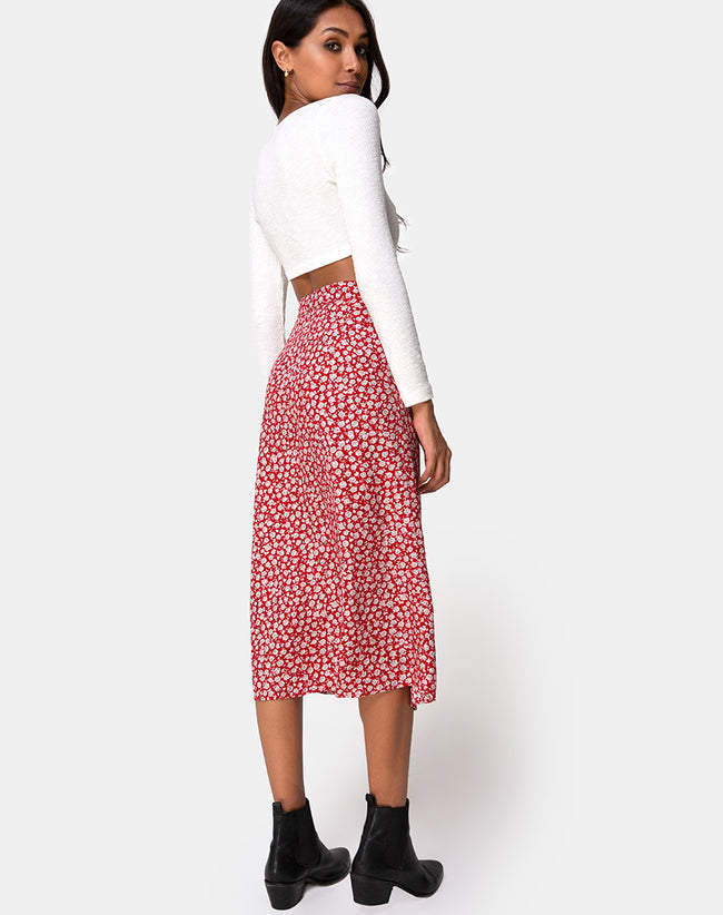 bb03bcd25f Saika Skirt in Ditsy Rose Red Silver by Motel