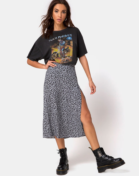 Saika Midi Skirt in Ditsy Rose Black by Motel