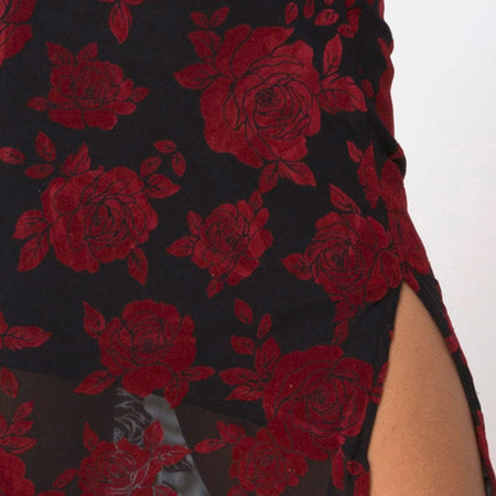 Saika Midi Skirt in Romantic Red Rose Flock by Motel