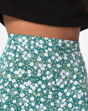 Saika Midi Skirt in Floral Field Green by Motel