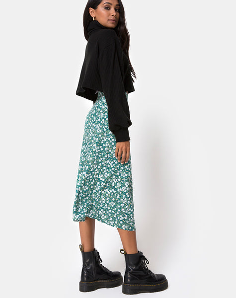 unequal in performance coupon code superior materials Saika Midi Skirt in Floral Field Green by Motel