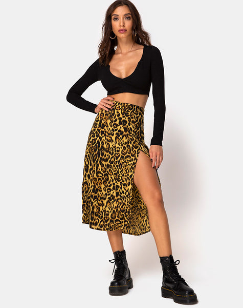 Saika Midi Skirt in Leopard by Motel