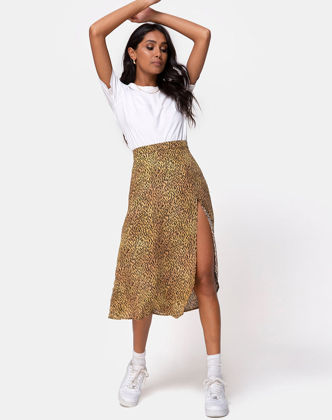 Saika Midi Skirt in Mini Tiger Brown