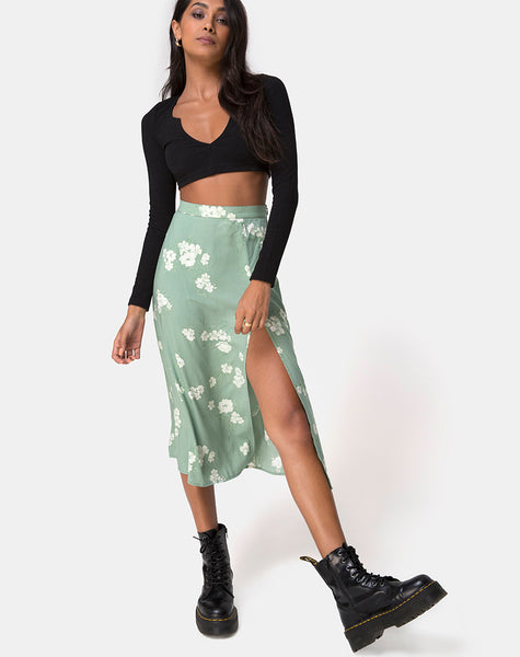 Saika Midi Skirt in Mono Flower Green by Motel