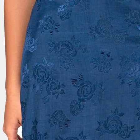 Saika Midi Skirt in Satin Rose Navy