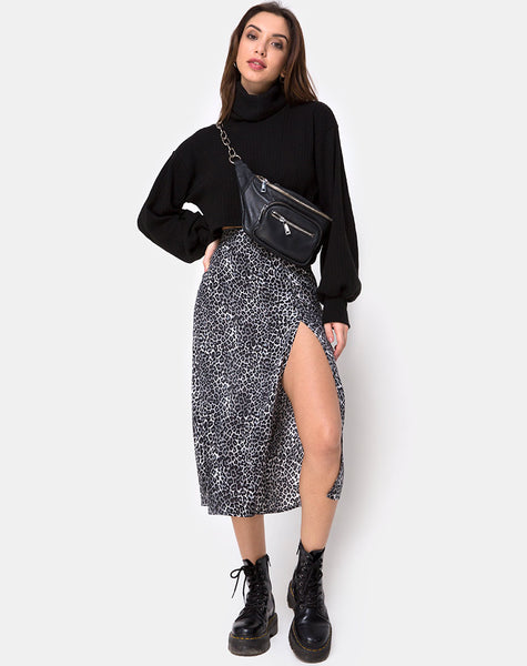 Saika Midi Skirt in Rar Leopard Grey