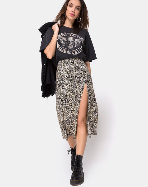 Saika Midi Skirt in Rar Leopard Brown by Motel