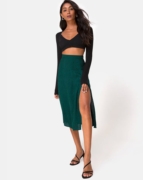 Saika Midi Skirt in Satin Cheetah Forest Green