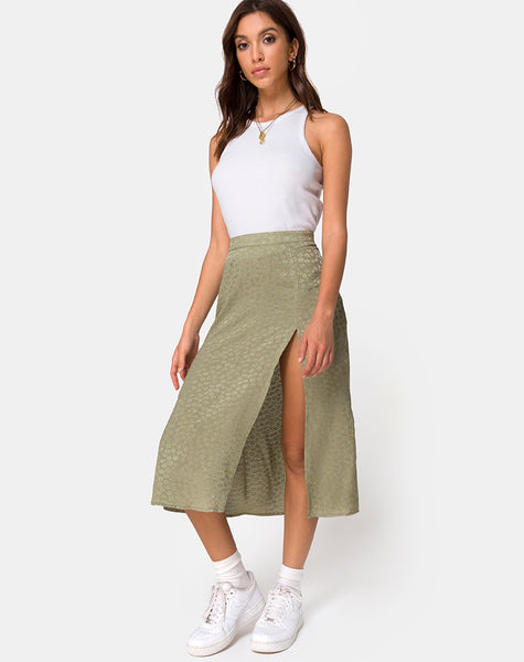 Saika Midi Skirt in Satin Ditsy Rose Sage by Motel