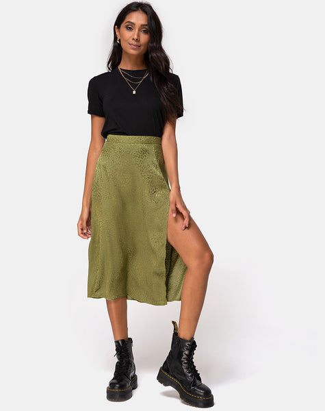 Saika Midi Skirt in Satin Cheetah Khaki