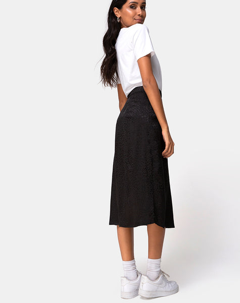 Saika Midi Skirt In Satin Cheetah Black