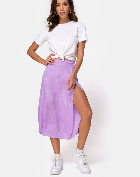 Saika Midi Skirt in Satin Rose Lilac by Motel