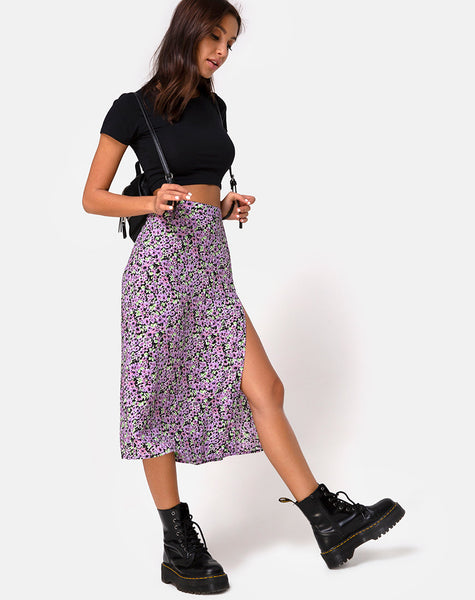 Saika Midi Skirt in Lilac Blossom by Motel