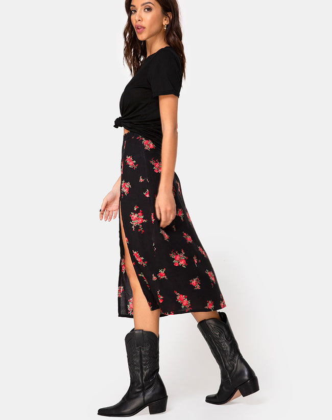 Saika Midi Skirt in Soi Rose Black and Red by Motel