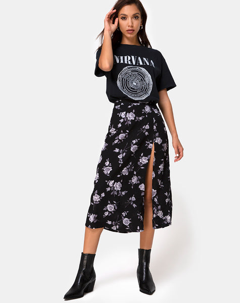 Saika Midi Skirt in White Rose Black by Motel