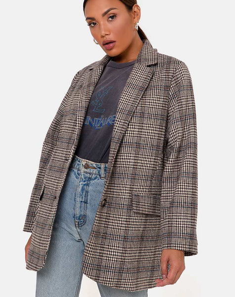 Saken Blazer in Grey Check by Motel