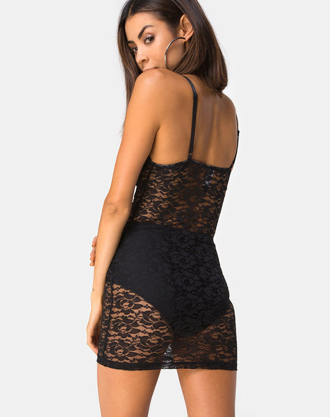 Sakina Bodycon Dress in Lace Black